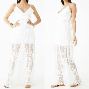 Dresses & Skirts - Embroidered Mesh White Maxi Dress
